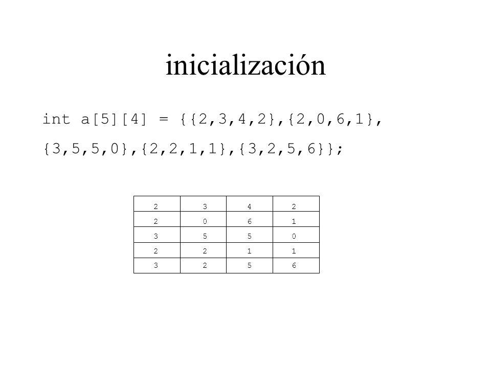 inicialización int a[5][4] = {{2,3,4,2},{2,0,6,1},